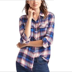 Gap + Pendleton Pink and Blue Flannel Button Down